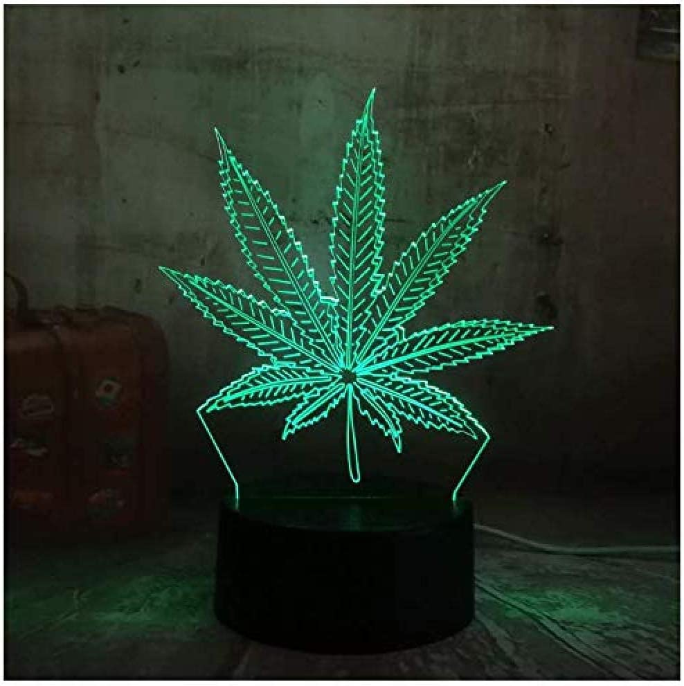 Night Light 3D Night Light Cannabis Leaf 16 colores Interruptor táctil remoto Decoración del hogar Iluminación infantil