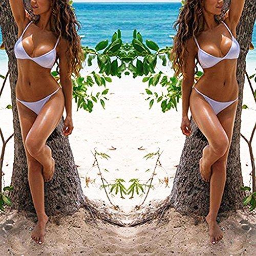 Good01 Traje De Baño Bikini Color Sólido Sin Arco Sin Almohadilla Copa Triangular Para Mujeres Muchacha A Playa Vacaiones Blanco