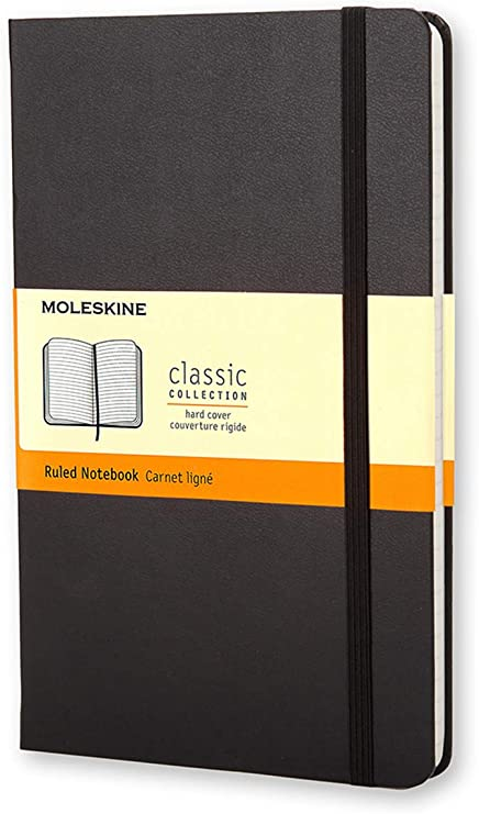 Moleskine Classic Ruled Paper Notebook Hard Cover And Elastic Closure Journal Black Large 13 X 21 A5 240 Pages