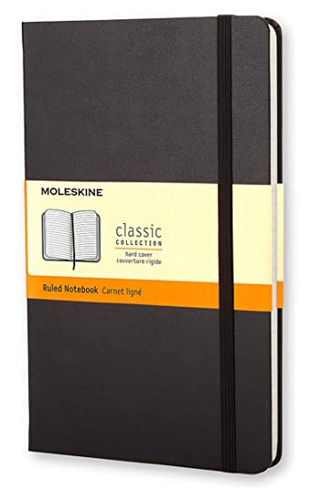 13cm x 21cm Moleskine Black Large Plain Notebook Hard Cover