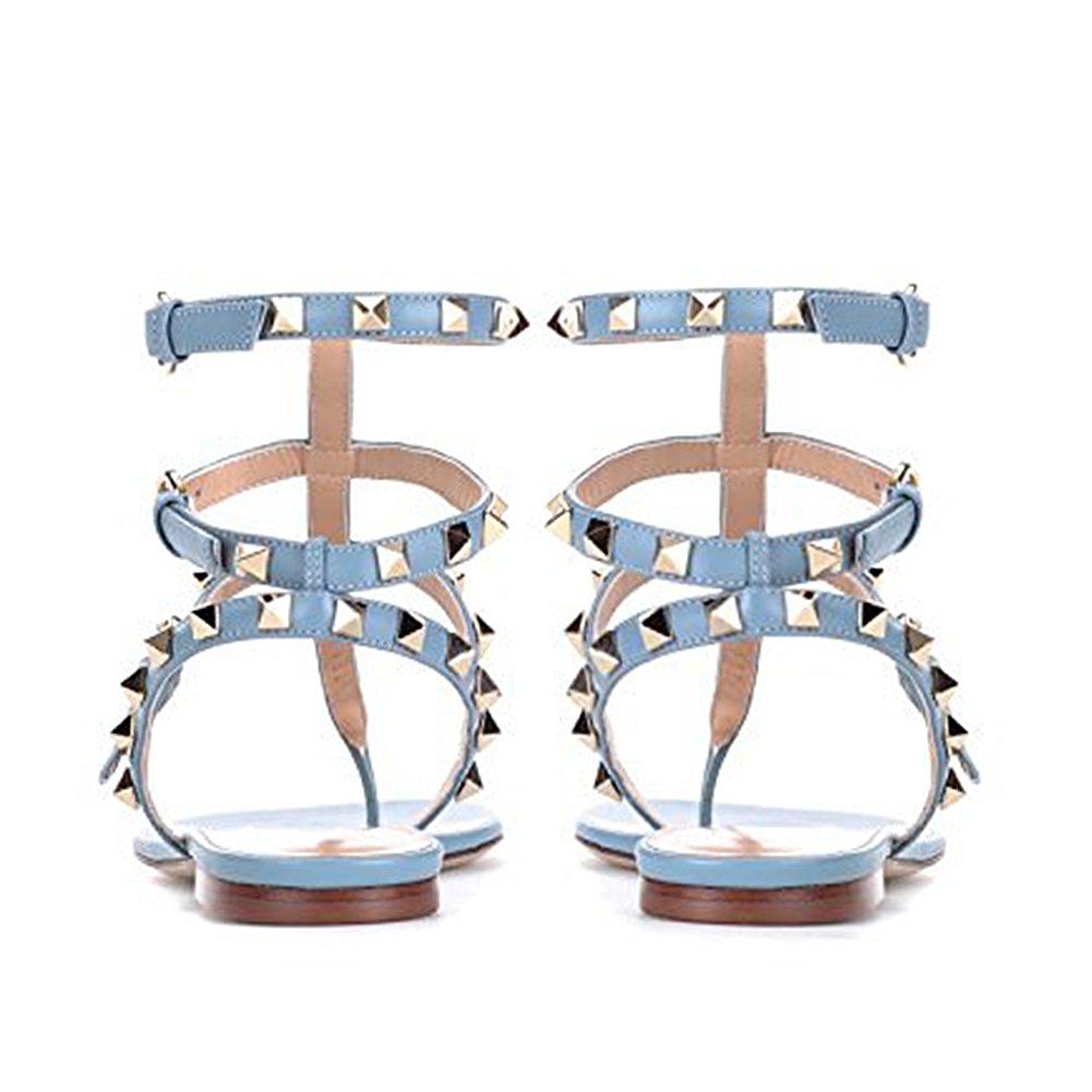 Lutalica Lutalica Lutalica Damenmode T-Strap Besetzt Casual Komfort Sommer Flache Sandalen Schuhe Blau 1a697f