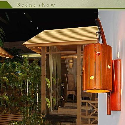 Lámpara de Pared de Madera de Bambú Antiguo Vintage Loft Lámpara E27 Max 60W, Nostalgia Retro Aplique de Interior Luz de Pared Iluminación Decorativa para Restaurante/Corredor/Casa de té/Café/Bar: Amazon.es: Iluminación