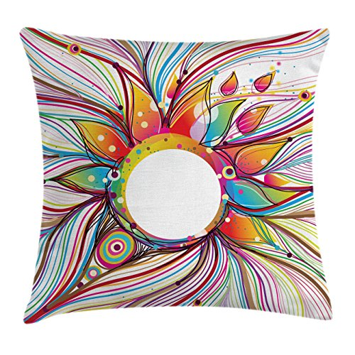 Ambesonne Abstract Decor Throw Pillow Cushion Cover, Vector Smoky Wavy Floral Design with Rainbow Alike Stripes and Lines, Decorative Square Accent Pillow Case, 18 X 18 Inches, Multi Colored