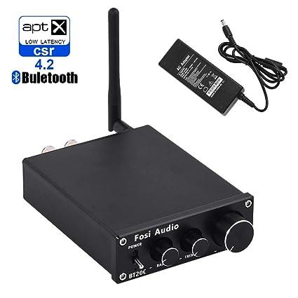 14227e15aa3db3 Fosi Audio Bluetooth 4.2 Stereo Amplifier 2 Channel: Amazon.co.uk:  Electronics