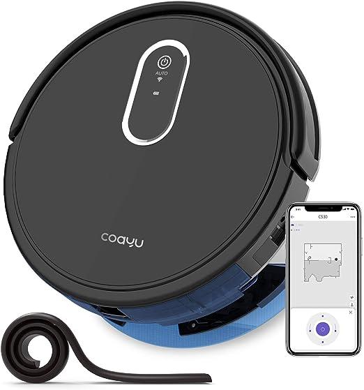 COAYU C530 Saugroboter mit Wischfunktion Wassertank 110 Min Laufzeit Saugen & Fegen & Wischen 3 in 1,Wifi App und Fernbedienung Steuerung (Schwarz)