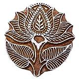 Lotus Block Print Wooden Textile Stamp Brown Hand Carved Printing Block