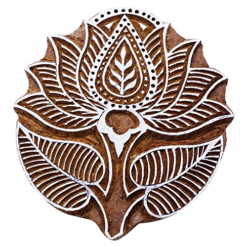 Lotus Block Print Wooden Textile Stamp Brown Hand Carved Printing Block by Knitwit