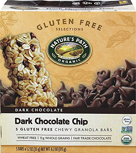 Natures Path Organic Gluten Free Selections Dark Chocolate Chip Chewy Granola Bar, 6.2 Ounce - 6 per case. - Whole Path Natures Grain