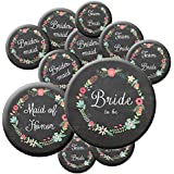 16 Chalkboard Team Bride Buttons - Bachelorette Buttons - Bridal Party Buttons - Chalkboard Wedding - Rustic Wedding