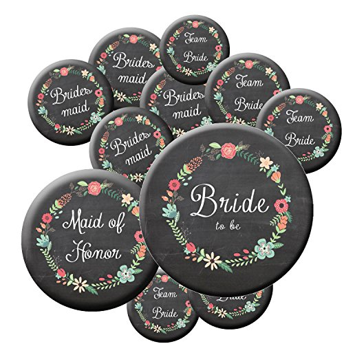 16 Chalkboard Team Bride Buttons - Bachelorette Buttons - Bridal Party Buttons - Chalkboard Wedding - Rustic Wedding -