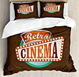 Family Decor Movie Theater Twin Duvet Cover Sets 4 Piece Bedding Set Bedspread with 2 Pillow Sham, Flat Sheet for Adult/Kids/Teens, Retro Style Cinema Sign Design Film Festival Hollywood Theme