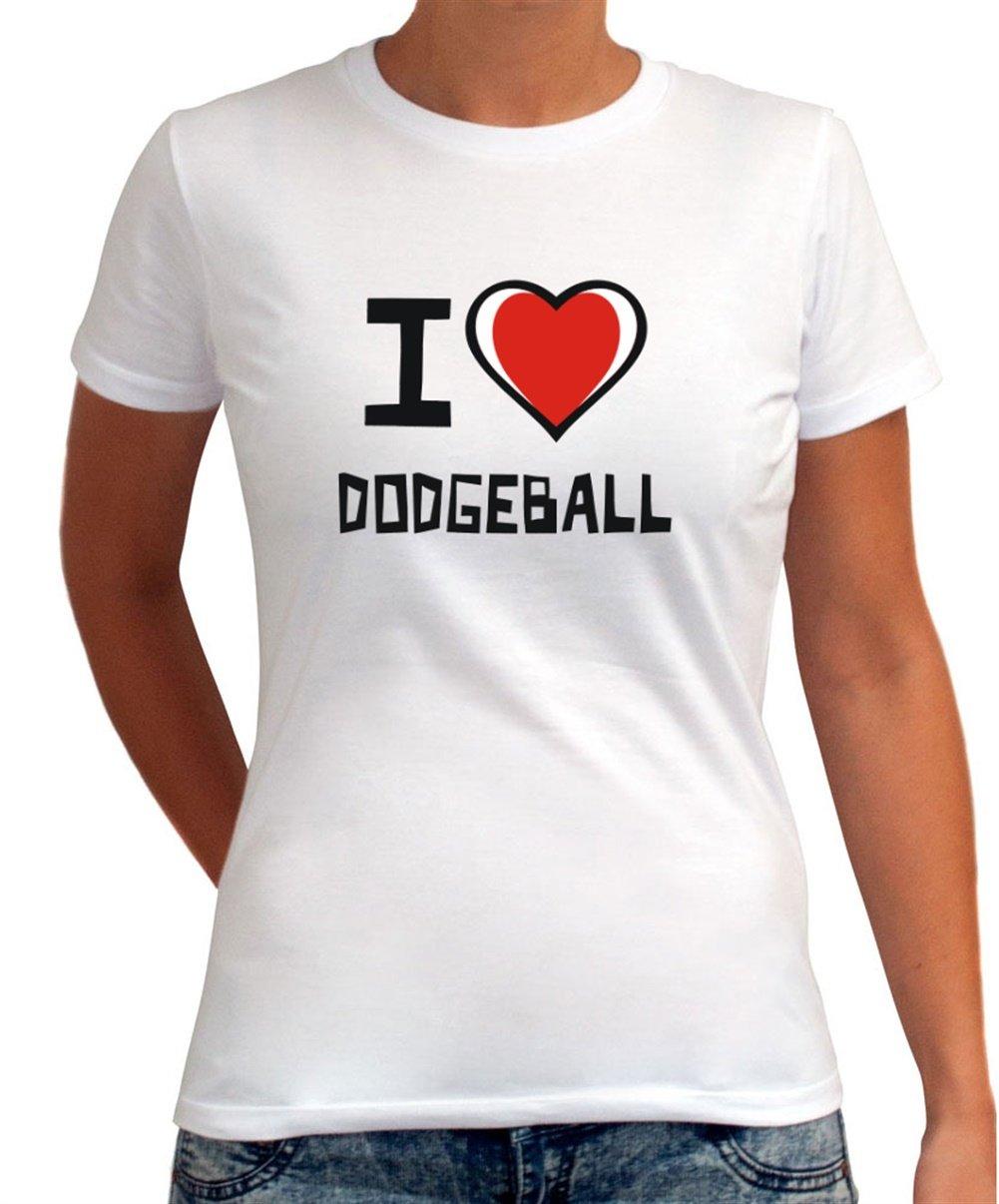 I Love Balón prisionero para mujer Camiseta de, Weiß, M: Amazon.es ...