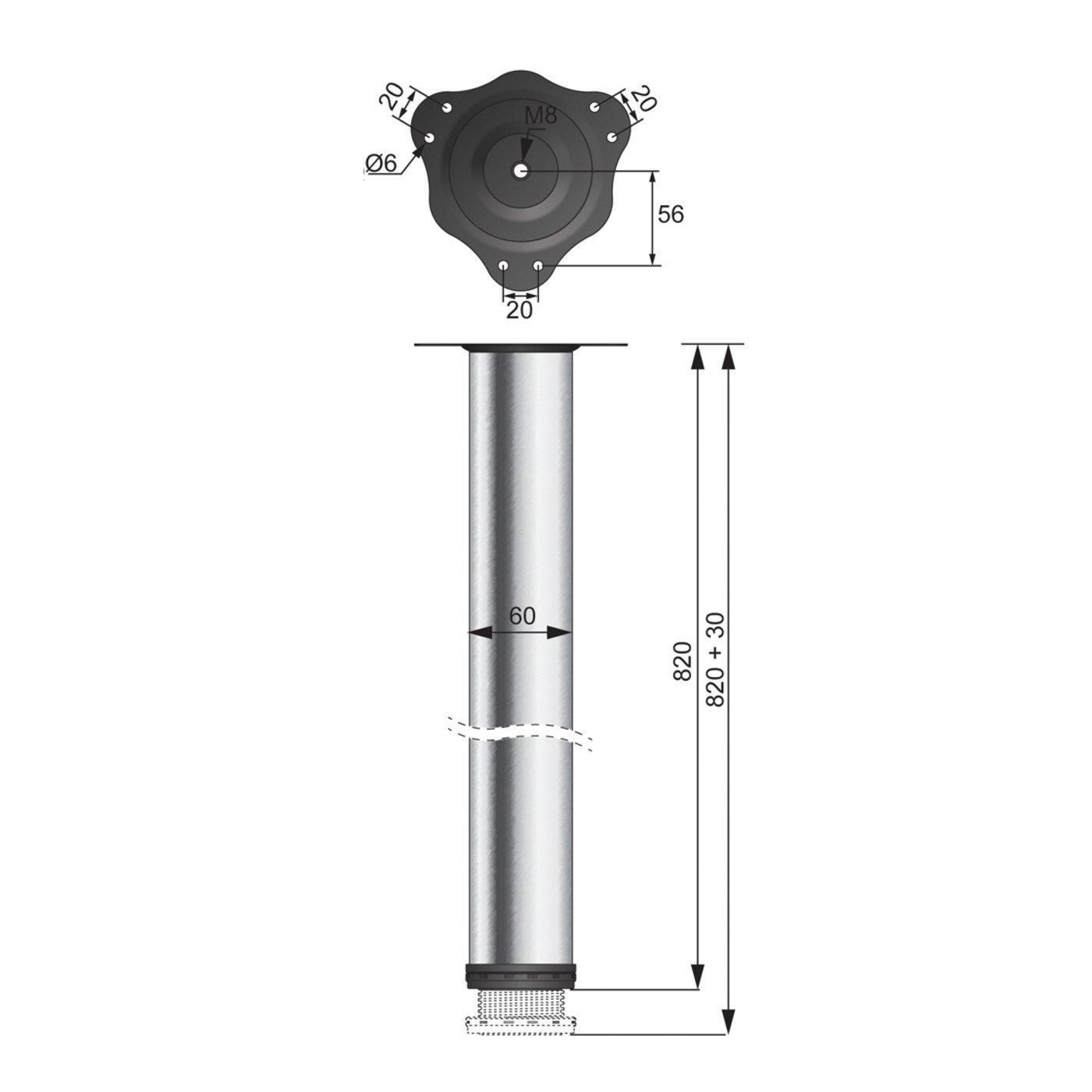 H1100mm, Chrom/é r/églable FURNICA Lot de 4 pieds de table