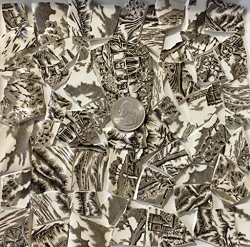 Mosaic Art & Crafts Supply ~ Brown & White Classic Transferware Tiles (B816)