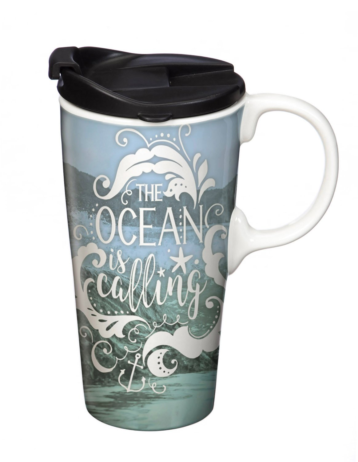 Cypress Home Water Ceramic Travel Coffee Mug with Gift Box, 17 ounces