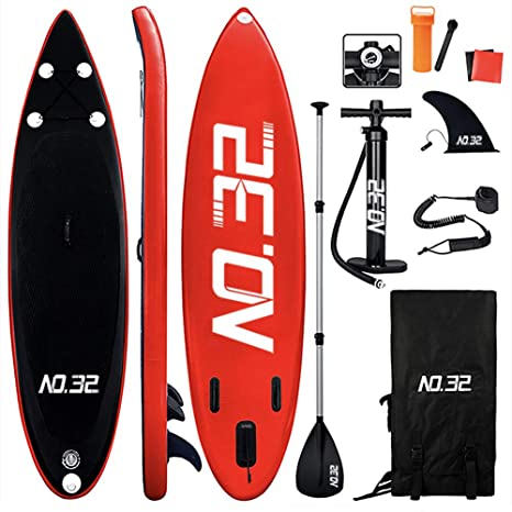 Tabla Hinchable de Paddle Surf + SUP Paddle Remo de Ajustable | Bomba | Mochila | Aleta Central Desprendible | Kit de Reparación y La Cinta para Atar ...