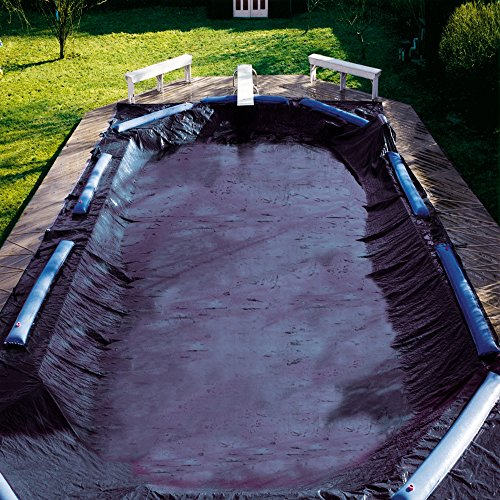 In The Swim 8-Year 18 x 36 Foot Rectangle Pool Winter Cover with Water Tubes Inground Pool