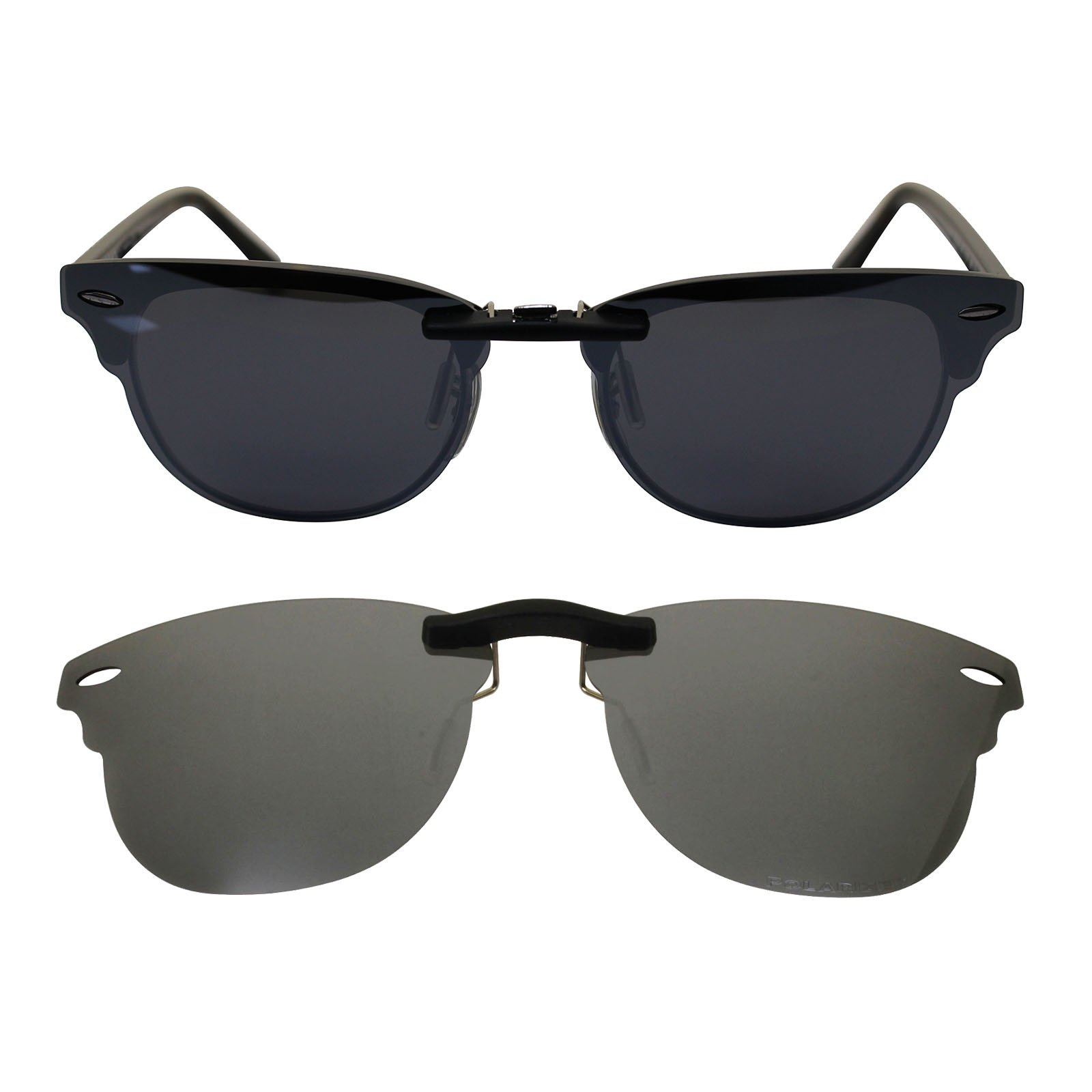 Ogeee Custom Polarized Clip On Sunglasses for Ray-Ban Clubmaster RB5154 (RX5154) 51-21-145 Silver by oGeee