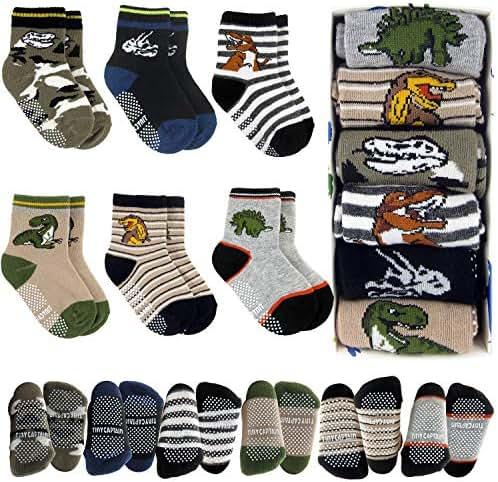 Tiny Captain Toddler Boy Dinosaur Grip Socks 1-3 Year Old Baby Non Slip 8-36 Months Gift Set 6 Pack T-Rex, Stripes (Dark Colors)