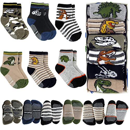 Tiny Captain Toddler Boy Dinosaur Grip Socks 1-3 Year Old Baby Non Slip 8-36 Months Gift Set 6 Pack T-Rex, Stripes (Dark Colors) (Unique Birthday Gifts For 1 Year Old Boy)