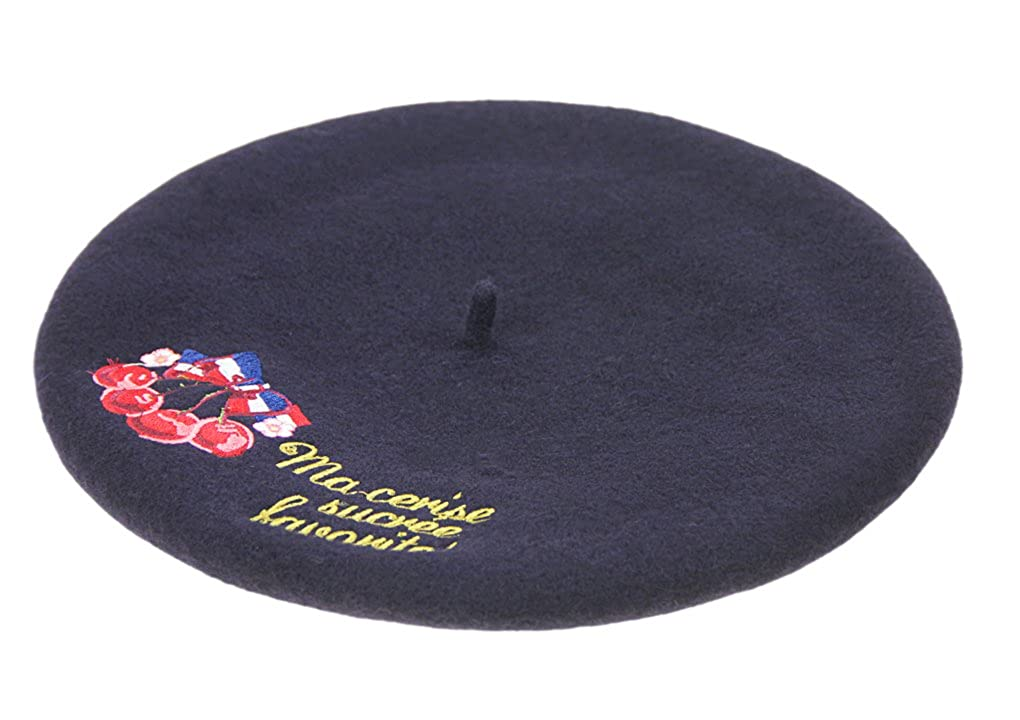 Womens Classic Embroidered Solid Color French Artist Wool Beret Hat Beanie Cap