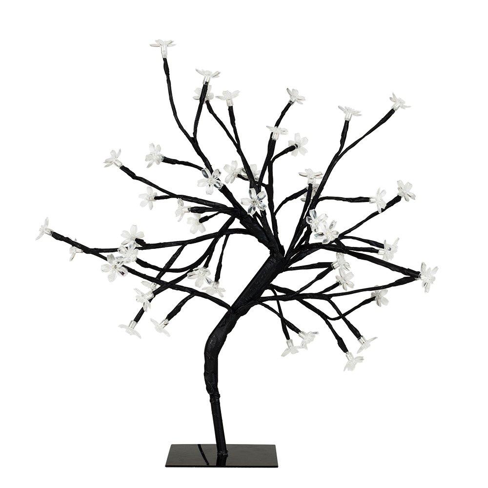 MiniSun - Decorativa lámpara de mesa de estilo bonsái negro 'Sakura en flor', con 48 luces