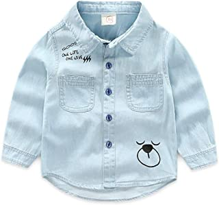 Boy's Long Sleeve Solid Button-Down Oxford Shirt (Size : 120)