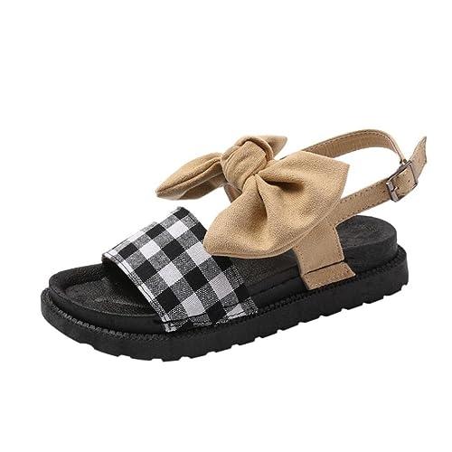 Sandalias de Vestir Zapatos Mujer Verano Moda Mujer Bow Hasp Punta Redonda Gruesa Bottom Flatform Zapatos Sandalias Beige: Amazon.es: Zapatos y complementos