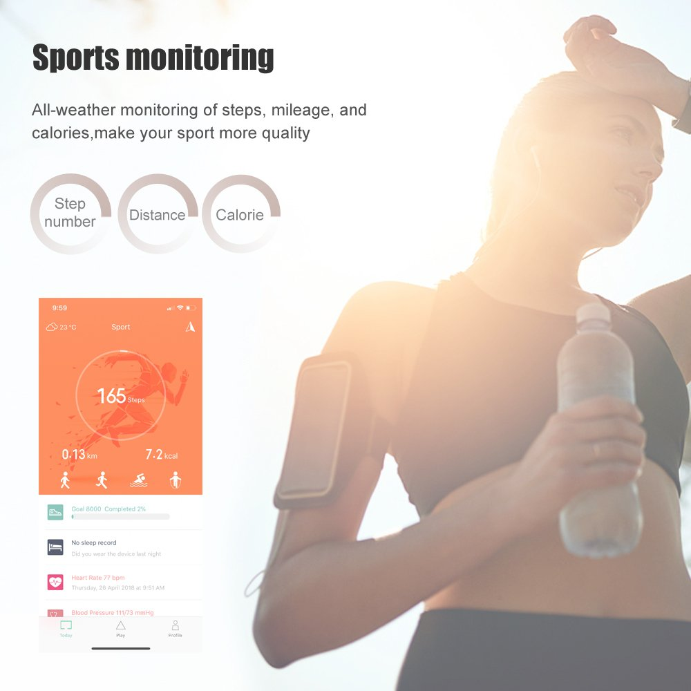 HOOWAN Fitness Tracker, Full Color Fitness Watch with Heart Rate Monitor, IP67 Waterproof Smart Watch Wristband with Blood Oxygen Monitor Blood Pressure Rate Monitor Sleep Tracker Calorie Counter