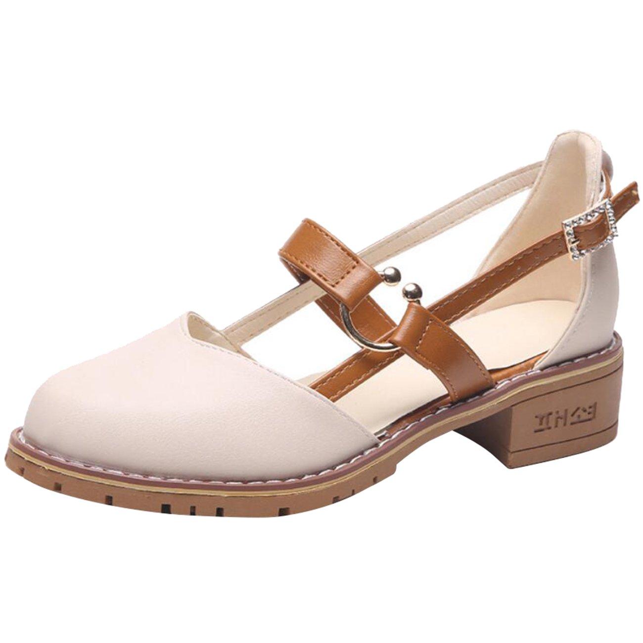 Mashiaoyi Womens Round-Toe Block-Heel Buckle Metal Diamond Sandals