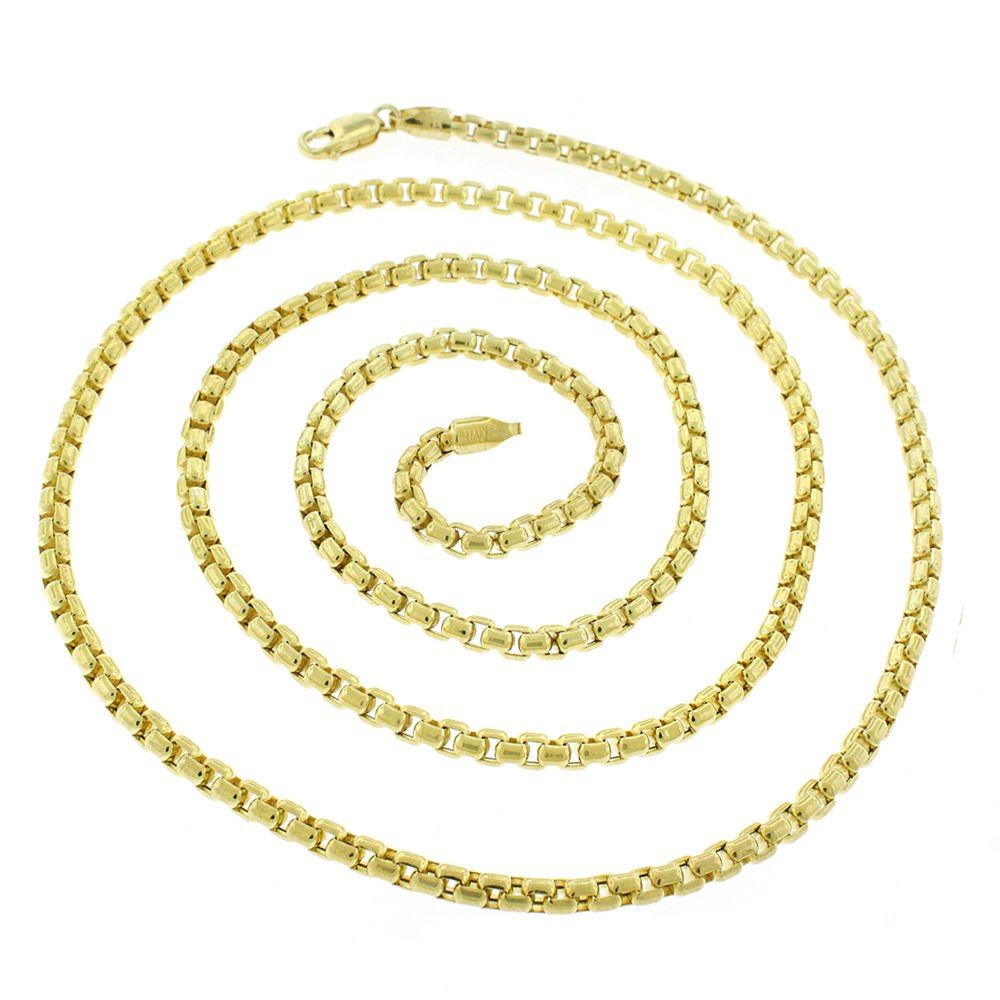10k Yellow Gold 3mm Round Box Link Necklace Chain 20'' - 24'' (24) by In Style Designz (Image #2)
