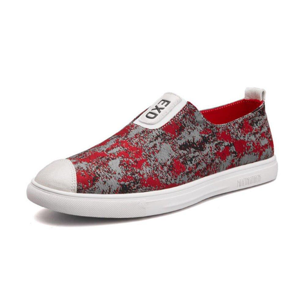 New Zapatos Casuales de los Hombres 2018 Primavera/Verano/Otoño de la Nueva Manera del LUN Británico Zapatos Casuales Suave/Transpirable para Hombre Zapatos Cómodos Zapatos de Lona EU Size 41 EU|Rojo