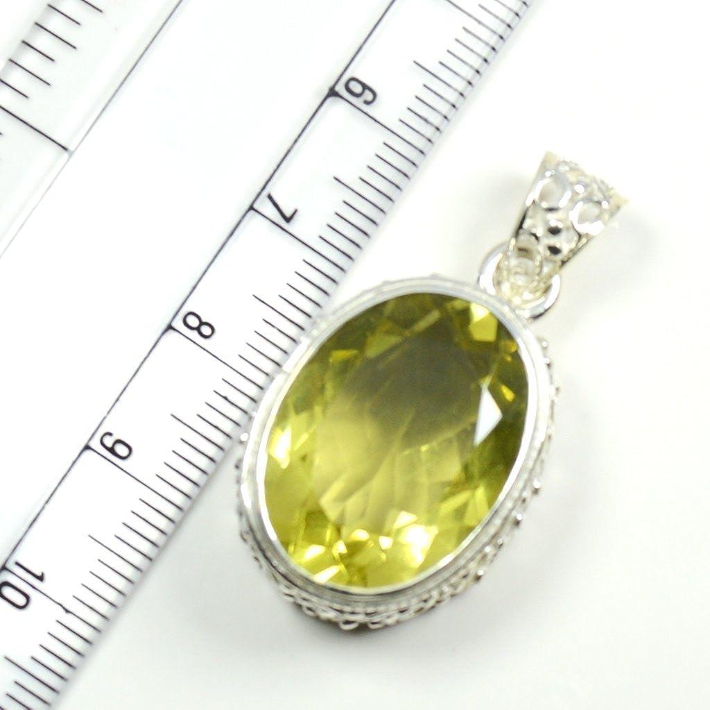 Gemsonclick Natural Lemon Quartz Oval Shape 925 Sterling Silver Pendant MSP-199