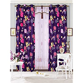 This Item Mk Collection 2 Panel Curtain With Grommet Teens/girls Owl Fox  Animals Purple New