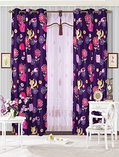 Mk Collection 2 Panel Curtain with Grommet Teens/girls Owl Fox Animals Purple New ()