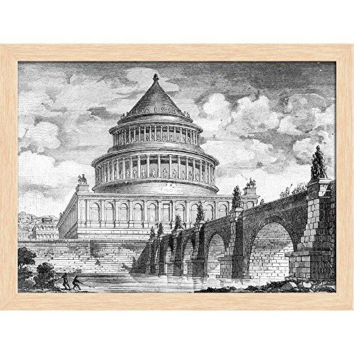 Pitaara Box Victorian Engraving of The Castel Sant Angelo Rome Canvas Painting Natural Brown Frame 17.5 X 13Inch