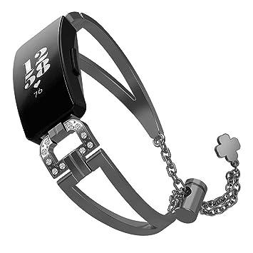 Water Bracelet de Remplacement pour Montre connectée Fitbit Inspire/Inspire HR en Acier Inoxydable avec