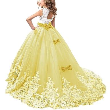 be4178d2f OBEEII Vestido de Niñas Boda Fiesta de Princesa Sin Mangas Encaje  Rhinestone Elegantes Vestidos de Noche Comunión Ceremonia Gala Pageant  Cóctel ...