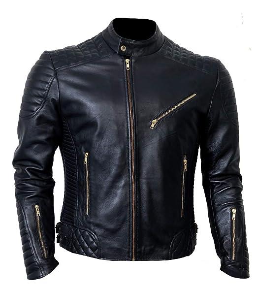 Genuine Handmade Mens Biker Quilted Premium Soft Leather Jacket Stylish Design