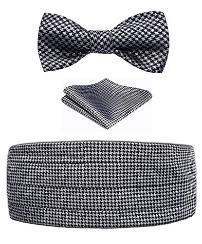 Men's Houndstooth Silk Cummerbund & Self Bowtie & Pocket Square Set Silver Black (Cummerbund Silver)