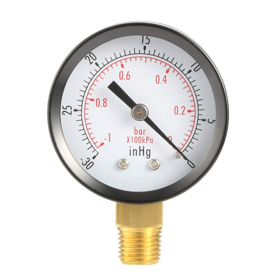 Fantasyworld Trockenprogramm Vakuum-Manometer Blk Stahl 1/4' NPT Lower Mount -30HG / 60 psi TS50-1 + 1 Copper Alloy Dual-Skala PSI