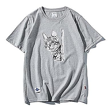 Amazon メンズ Tシャツ ねこ 猫 イラスト おしゃれ トップス 半袖 ロゴ
