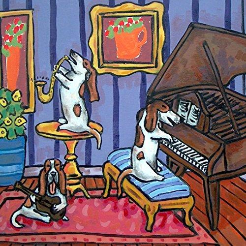 Basset Hound dog Trio dog art tile coaster gift