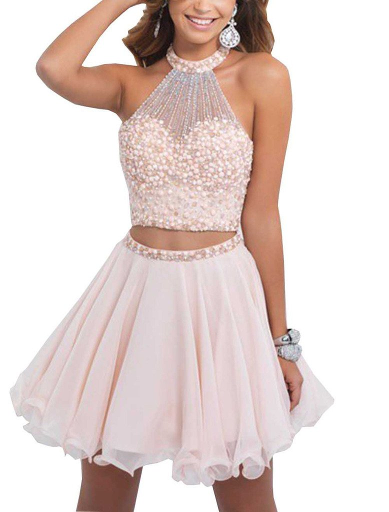 Dearta Women's Two Pieces Short Mini Jewel Crystals Homecoming Dress Blush US 8