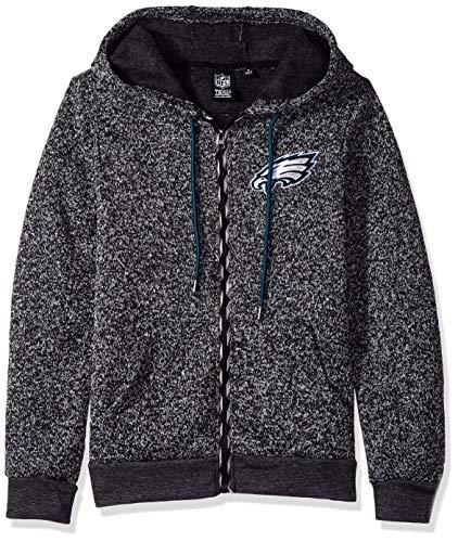 ICER Brands NFL Philadelphia Eagles Women's Full Zip Hoodie Sweatshirt Marl Knit Jacket, X-Large, Gray ()
