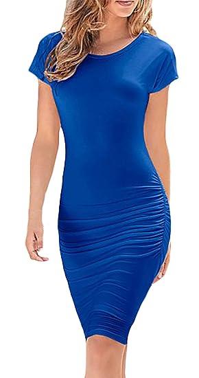 Vestidos Mujer Elegante Verano Manga Corta Cuello Redondo Medium Largos Skinny Vestido Color Sólido Moda Sencillos Confort Casual Fiesta Dresss Dresses ...