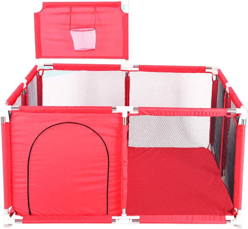 Portable Baby Ball Pit Tent Playpen Playard Fence with Basketball Hoop Breathable Mesh For Indoors Outdoors Infant Toddler Kids Large