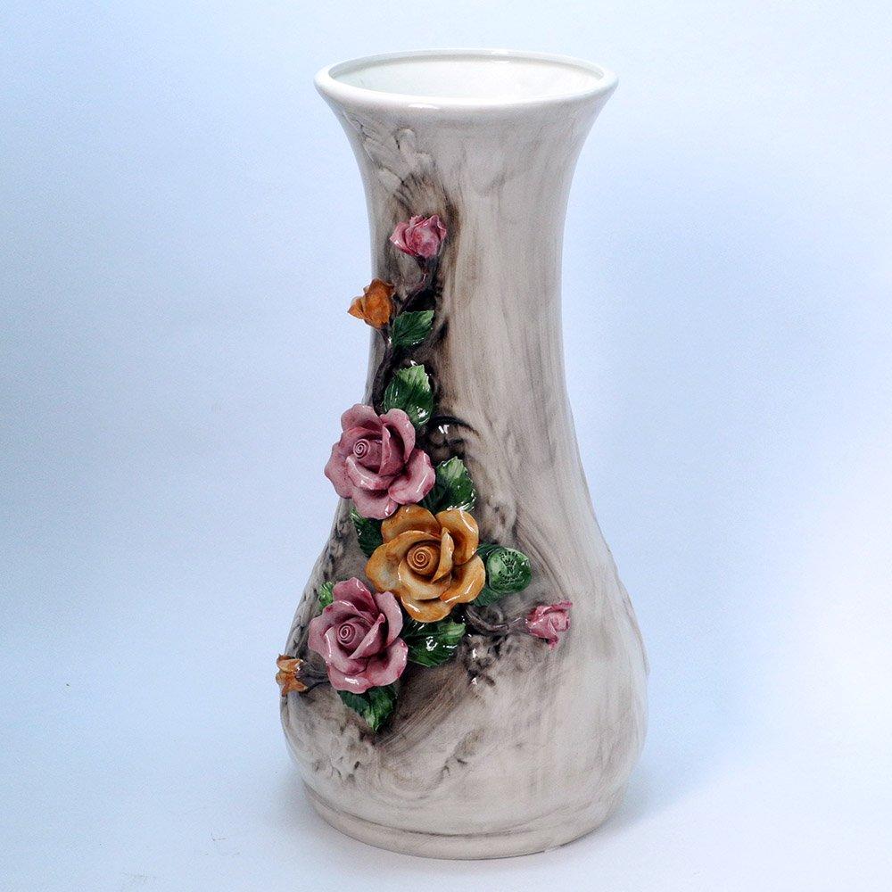 イタリア製 バラ 陶花 大型 花瓶 カポディモンテ 陶器 飾り壺 64cm son-320 B07951FTQ3