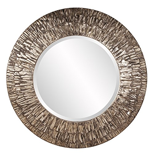 Howard Elliott Linden Round Mirror, Metallic Champagne Silver