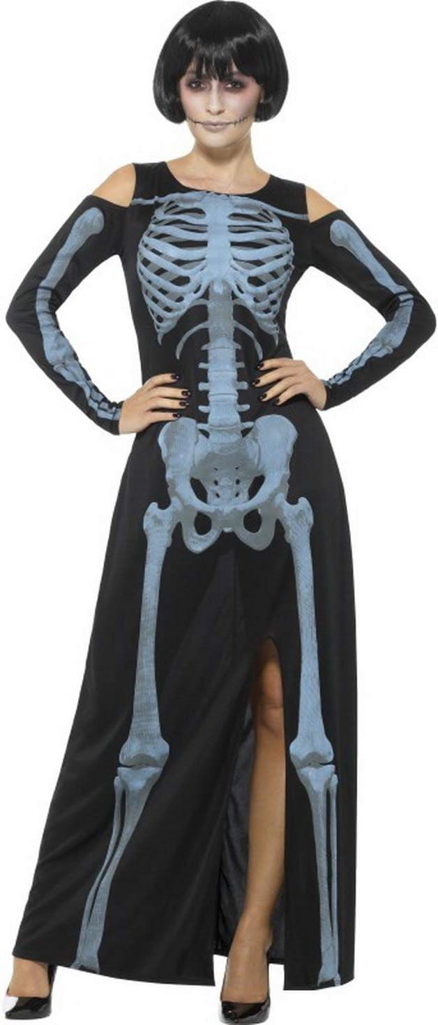 Mrs Bone figurbetontes Mrs Bone Kostüm Damenkostüm Halloween Skelett Fasching